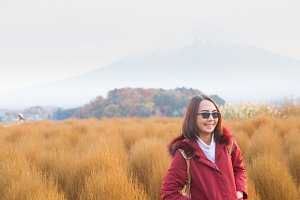 Happy woman relax travel in Japan.