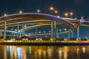 Panorama Bhumibol Bridge at night