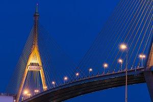 Bhumibol Bridge at night