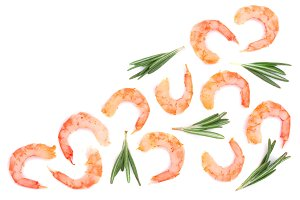 Red cooked prawn or shrimp with rosemary isolated on white background with copy space for your text. Top view. Flat lay