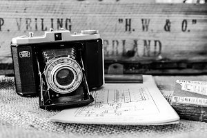 Old vintage camera B/W Photo