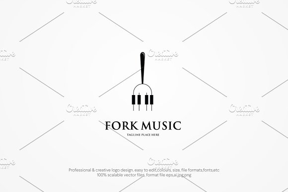 Fork Music Logo Template