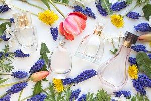bottles of woman perfume