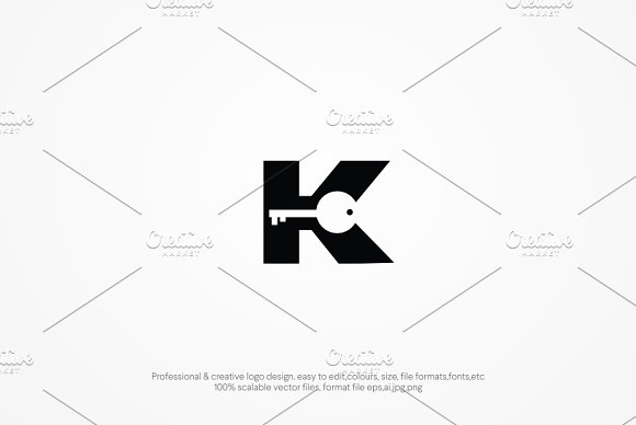 Key Monogram Logo Template
