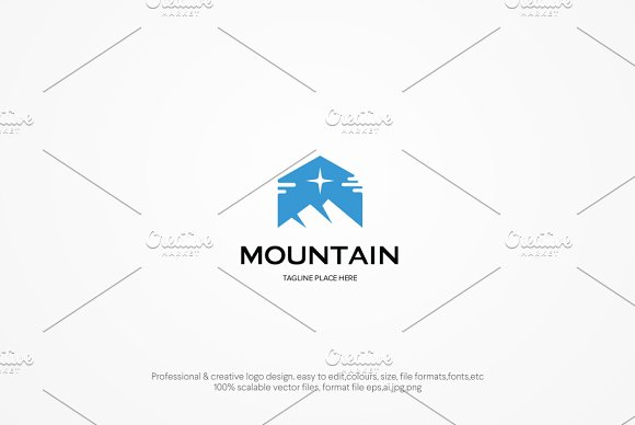 Mountain With Star Logo Template
