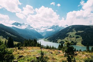 Scenic view of lake and valley in Austrian Alps