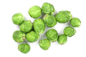Brussels sprouts isolated on white background closeup. Top view. Flat lay