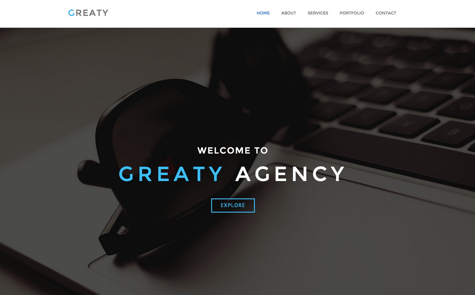 GREATY One Page HTML Template HTMLCSS Themes Creative Market - Html welcome page template