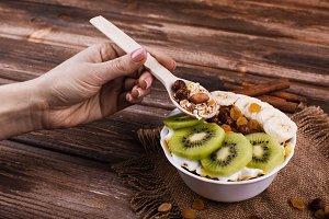 Tasty healthy morning breakfast