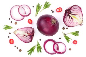 red onions with rosemary and peppercorns isolated on a white background. Top view. Flat lay