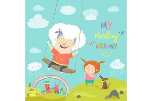 Old woman swinging on a baby swing