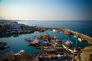 Aerial view to Girne marina, North Cyprus