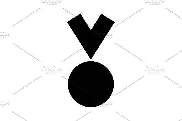 Medal Icon In Trendy Black On White