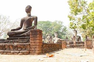 Buddha on old brick in Ayutthaya, Th