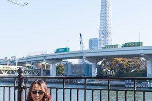 Asia women travel in near by Tokyo s
