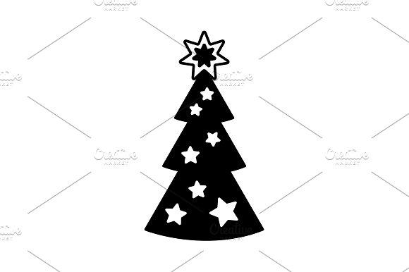 Fir Tree Vector Line Icon Black