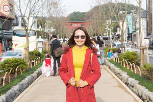 Asia woman walking on the street