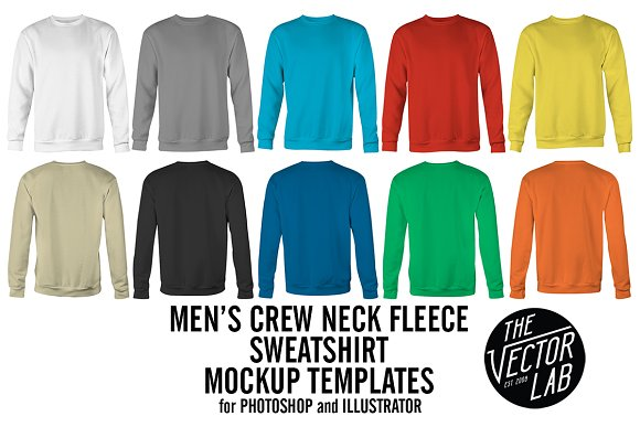 Men S Crew Neck Sweatshirt Templates Product Mockups Creative Market
