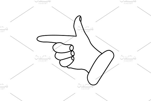 Hand Cursor Line Icon Vector Black
