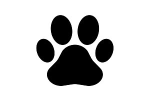 Paw Print icon. Vector black
