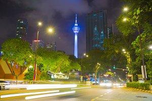 Kuala Lumpur tower in town at night