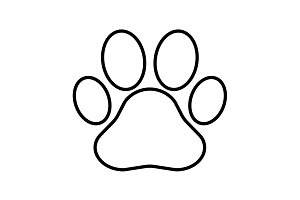 Paw Print line icon. Vector black