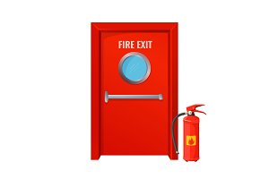 Red fire exit with round circle and extinguisher