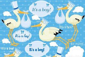 Stork Baby Boy Clipart AMB-833