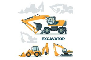 Modern powerful excavator for building and construction set
