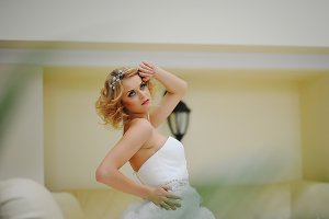 beautiful blonde model bride