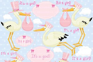 Stork Girl Baby Clipart AMB-832