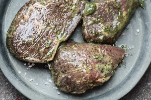 Raw marinated steak  for barbecue