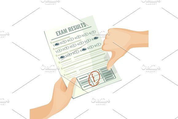 Unsatisfactory Exam Results On Paper In Human Hands