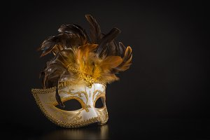 Venician golden carnival mask
