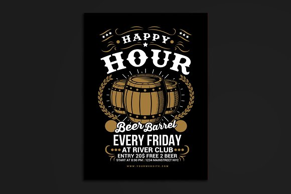 Happy Hour Beer Barrel Flyer