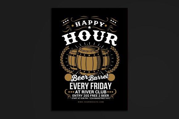 Happy Hour Beer Barrel Flyer