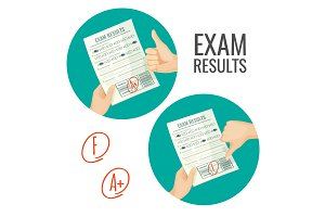 Exam results with excellent and unsatisfactory grades