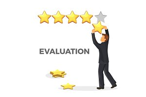 Evaluation promo poster with gold star and man in suit