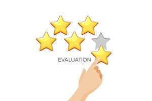 Evaluation in gold shiny star promo poster with human hand