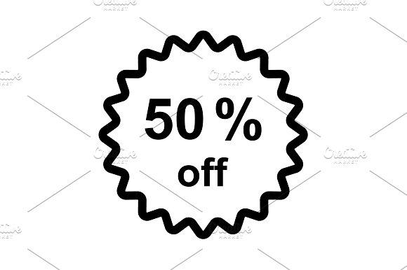 Half price tag. 50% off icon black