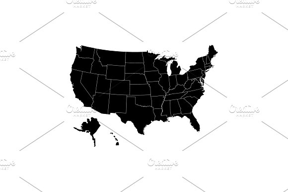 Map USA With Federal States Black