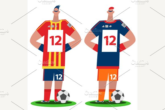Soccer Players Stand Full Body View