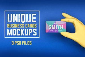 3 Unique Business Cards Mockups