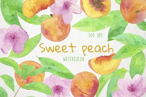 Watercolor Peaches Clipart