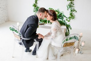 Bride in beautiful dress and groom