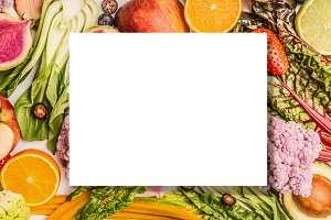 White sheet on fruits and vegetables