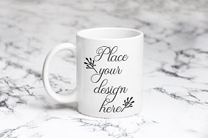 White coffee mug 11oz cup mockup
