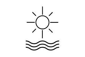 sun and waves line icon. vector
