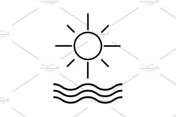 Sun And Waves Line Icon Vector