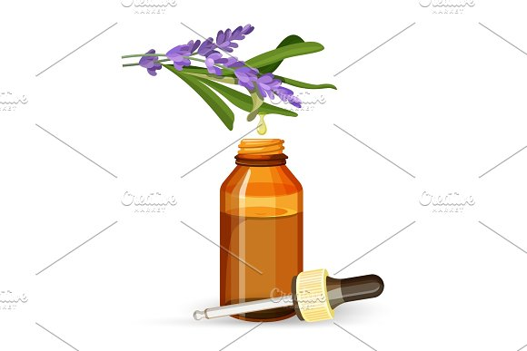 Lavender Extract Oil In Glass Bottle With Pipette
